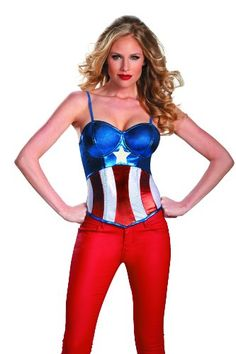 Disguise Marvel Captain America Fiercely Femme Sassy American Dream Womens Adult Bustier Costume, Red/White/Blue, Medium/8-10 Disguise,http://www.amazon.com/dp/B00CXOMD56/ref=cm_sw_r_pi_dp_kD5ntb1VZNCZ4K74