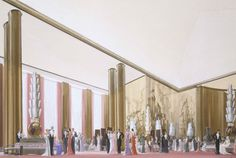Artist rendering for the Grand Salon of the SS Normandie | SS ...