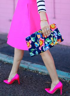Make a statement!:: Pretty in pink :: Pink Tea Length Skirt and a Floral Clutch:: Pink Pumps