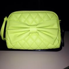 Cute neon yellow bow clutch