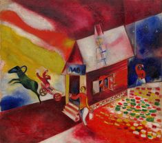 Marc Chagall, The Flying Carriage, 1913. Oil on canvas, 42 x 47 1/4 inches (106.7 x 120.1 cm)