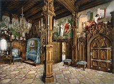 Schlafzimmer mit Bildern aus der Tristan-Sage, Schloss Neuschwanstein, Deutschland, ca. 1900
