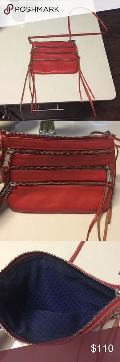 Rebecca Minkoff cross body Coral color, In great condition. Strap can be removed and used as a clutch Rebecca Minkoff Bags Crossbody Bags
