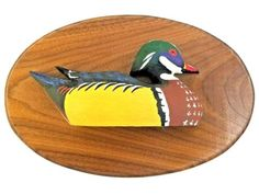 Roger-Moreau-Wood-Drake-Duck-Signed-Wooden-Oval-Relief-Plaque