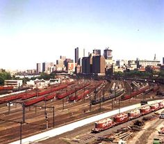 Red rattler, very old Melbourne Trains ~ One of a few train holding yards around the City. Melbourne history in colour - #Australia. Circa late 1970's