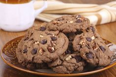 Cookies de nozes com chocolate