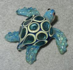 Lampwork Boro Glass Pendant  Focal Bead  SEA TURTE by jilleglass