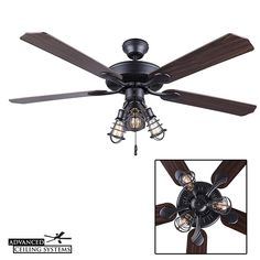 7 Rustic Industrial Ceiling Fans With Cage Lights You'll Love — Advanced Ceiling Systems Industrial Ceiling Fan, Rustic Industrial Decor, Ceiling Fan Vaulted Ceiling, Ceiling Fan Makeover, Cage Light, Lights, Modern, Bar, Trendy Tree