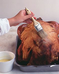 Cheesecloth method for cooking a turkey - has worked great for me before.  This year I used white wine from Aldi, making it an extra classy bird.