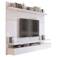 Manhattan Comfort 25251 - City Floating Wall Theater Entertainment Center in Nut BrownThe City Theater Panel designed by Manhattan Comfort creates a sophisticated theatrical vibe for your living room. Simply attach it to the panel using the built- Living Room Tv, Living Spaces, Living Area, Tv On Wall Ideas Living Room, Living Room Wall Designs, Dining Room, Floating Entertainment Center, Bedroom Entertainment Center, Built In Entertainment Center