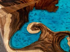 Resin Coffee table with glowing resin made of exotic suar wood image 5 Resin Table, Wood Table, Table Bench, Selling Handmade Items, Wood Images, Tung Oil, Live Edge Table, Wood Creations, Turquoise Color