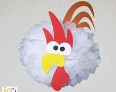 Barnyard Party Rooster Pompom Decoration/Farm party birthday/Farmyard Party Supplies/Old McDonald Barnyard Bash/Rodeo Baby Shower Barnyard Party, Pig Party, Farm Party, Farm Animal Birthday, Farm Birthday, Boy Birthday Parties, Farm Animal Crafts, Farm Animals, Crafts For Kids