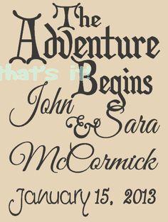Personalized Wedding Print, Original Design, The Adventure Begins, Premium Quality Paper and Inks