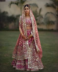 This is probably one of the most beautiful bridal outfits we've seen. We're obsessing over the colour combination and that subtle yet glam… Shadi Dresses, Pakistani Formal Dresses, Indian Bridal Lehenga, Pakistani Wedding Dresses, Indian Dresses, Indian Wedding Gowns, Indian Bridal Outfits, Indian Weddings, Designer Bridal Lehenga
