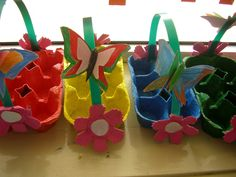 easter egg basket craft idea for kids Easter Arts And Crafts, Easter Egg Crafts, Easter Projects, Easter Crafts For Kids, Spring Crafts, Easter Egg Basket, Easter Eggs, Easter Activities, Preschool Crafts
