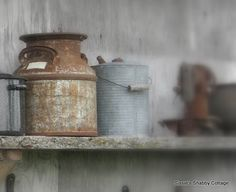 ✿ etsy bluefolkhome says ✿: Rusty metal containers can provide the anchor for a display...never pass them up!.
