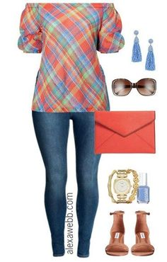 Plus Size Plaid Off-the-Shoulder Top Outfit - Plus Size Summer Outfit - Plus Size Fashion for . Size 12 Fashion, Big Girl Fashion, Plus Size Fashion For Women, Curvy Fashion, Look Fashion, Plus Size Women, Womens Fashion, Modern Fashion, Off The Shoulder Top Outfit