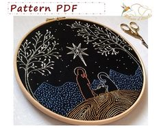 embroidery pattern pdf - pdf sewing patterns - embroidery kit - embroidery hoop art - Nativity - Embroidery design