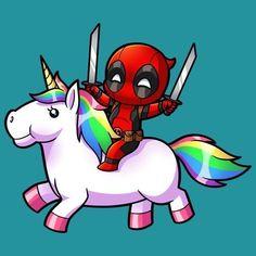 Deadpool on a Unicorn Cute Deadpool, Deadpool Und Spiderman, Deadpool Unicorn, Deadpool Pikachu, Deadpool Wallpaper, Cute Disney Drawings, Cute Drawings, Unicorn Tattoos, Cute Disney Wallpaper