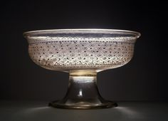 Crystal glass bowl decorated with rosettes and diamond pattern in white enamel, blue and gold, Murano, Venice, Italy, 15th-16th century