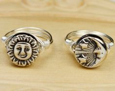 Sun OR Moon Ring- Sterling Silver Filled Wire Wrap Ring with Silver Tone Metal Bead -