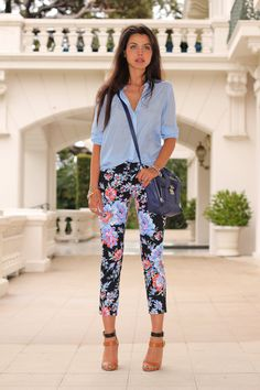 chambray with floral cropped pants