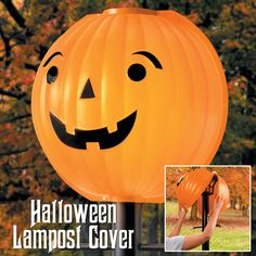 Just snap this happy pumpkin over your lamp post and voila! - Instant Halloween decoration.