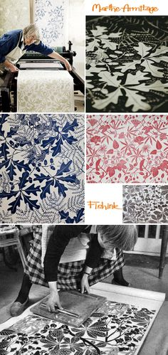 Marthe Armitage is a British designer, who graduated from Chelsea School of Art just after the second world war, and after marriage and kids, started designing lino-cut wallpaper in the Textile Patterns, Print Patterns, Pattern Print, Pattern Design, Web Design, Print Design, Design Ideas, Linocut Prints, Art Prints