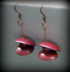 Copper Rose Earrings $35 torch fired enamel on copper with jasper