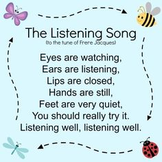 The Listening Song for kids. Joe from parks are rec, aka Keegan Michael Key, sang this song! p The Listening Song for kids Joe from parks are rec aka Keegan Michael Key sang this song p Kindergarten Songs, Preschool Songs, Preschool Learning, Teaching, Listening Activities For Kids, Transition Songs For Preschool, Kindergarten Circle Time, Preschool Transitions, Manners Preschool