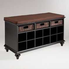 Keep your shoes from blocking your entryway or bedroom closet with our beautiful Black Oakdale Shoe Bench. This durable hardwood bench features 12 shoe shelves, plus three substantial rattan pull out drawers for gloves, scarves and other essentials. With a warm espresso bench cover and a contemporary black finish, this handy storage solution makes the most of your space in fine style.