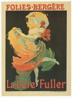 La Loie Fuller,de Jules Chéret (principal representante da arte nova francesa). Na imagem está bem presente a influência do barroco, a importância da mancha, o contorno, a estilização e o facto de a figura estar isolada sobre o fundo, de não haver contexto (característica vinda da arte oriental).