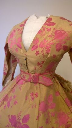 Floral silk trained dress, late 1860s | In the Swan's Shadow