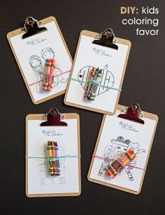 Kids coloring favors with free printables (via http://somethingturquoise.com/2014/07/08/diy-kids-coloring-clipboard-favor/)