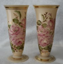 Two Rare Cambridge Crown Tuscan Vases Handpainted Charleton Pattern from Alice's Treasures on Ruby Lane