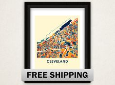 Cleveland Map Print  Full Color Map Poster by iLikeMaps on Etsy, Smoke 11 x 14