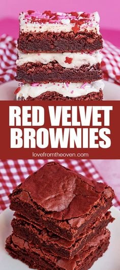 These delicious Red Velvet Brownies are easy to make from scratch and are a perfect Valentine's Day Dessert! Serve with or without an irresistable cream cheese frosting! #lftorecipes #brownies #redvelvet #valentinesday Oven Recipes, Baking Recipes, Baking Tips, Recipies, Best Dessert Recipes, Fun Desserts, My Favorite Food, Favorite Recipes, Red Velvet Brownies