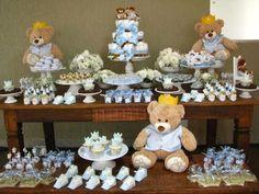 Decoração chá de bebê menino - Urso
