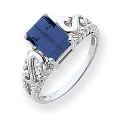14k White Gold Emerald Cut Sapphire Ring