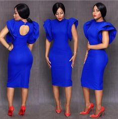 Royal Blue Satin 2018 Little Open Back Cocktail Dresses With Puff Sleeves Sheath Vestido De Festa Sexy Women Prom Dress Party Gown Elegant Dresses, Sexy Dresses, Beautiful Dresses, Short Dresses, Fashion Dresses, African Attire, African Wear, African Fashion, Royal Blue Cocktail Dress