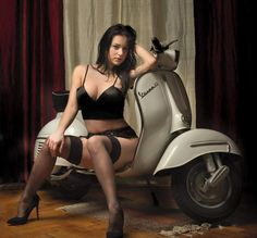 "scooterscene: ""Lady obscuring view of beautiful Vespa GS. """