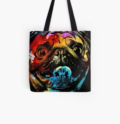 Cool Pug dog animal print tote bag. Watercolor art work for Pug lovers. Animal Print Tote Bags, Beagle Art, Owl Artwork, Best Dad Gifts, Cat Dad, Cute Pugs, Cat Colors, Baby Owls, Watercolor Art