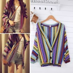 Women Vintage Stripe Knit Sweater Boho Ethnic Cardigan Tops Colorful Weave