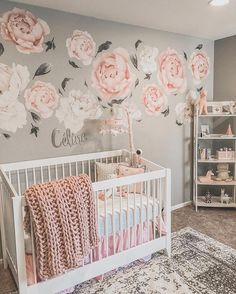 Elsa's Bedroom Makeover Reveal Baby Nursery: Easy and Cozy Baby Room Ideas for Girl and Boys Delight baby girl nursery ideas pink and grey // Brilliant baby girl nursery color ideas Girl Nursery Colors, Pink And Gray Nursery, Nursery Themes, Nursery Room, Flower Nursery, Rose Nursery, Nursery Fabric, Babies Nursery, Pink Grey Nurseries