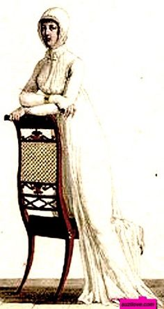 1811   Morning Dress, French. White, high-waisted, at home dress worn with a white lace Cornett ideally suited to a morning 'At  Home', as shown by the relaxed lady leaning on a chair.  via Costume Parisienne.        suzilove.com