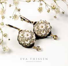 Eva thissen - Winter Moon. Gorgeous hand made hand appliqued polymer clay earrings in elegant silvery grey