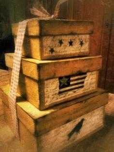 Primitive boxes I painted....