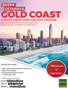 4D3N GOLD COAST FREE & EASY PACKAGE (Land Arrangement Only) Minimum of 2 persons to travel  For more inquiries please call: Landline: (+63 2)282-6848 Mobile: (+63) 918-238-9506 or Email us: info@travelph.com #GoldCoast #Australia #TravelPH #TravelWithNoWorries Hotel Breakfast, Australia Travel, Gold Coast, Tours, Easy, Free, Australia Destinations