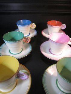 Floral Handled Pastel Teacup Set