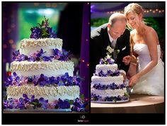 classic white wedding cake, decorated with purple flowers.   borterwagner photography     borterwagner.com